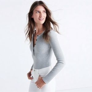 Madewell | Demo Henley Ribbed Stretch Bodysuit